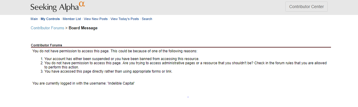 Permission Denied / Feedback Forum Forum / Seeking Alpha